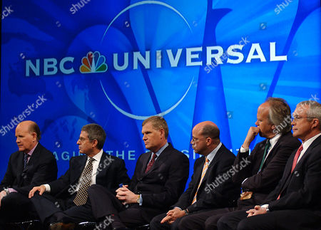 Executives of NBC Universal answers questions from the news media following a news conference announcing the merger between NBC and Universal on in New York. The executives are, from left, Bob Wright, chairman and chief executive officer of NBC Universal; Ron Meyer, president and chief operating officer of Universal Studios; Randy Falco, president of the NBC Universal Television Networks Group; Jeff Zucker, president of the NBC Universal Television Group; Dick Ebersol, chairman of NBC Universal Sports & Olympics; and Jay Ireland, president of NBC Universal Television Stations