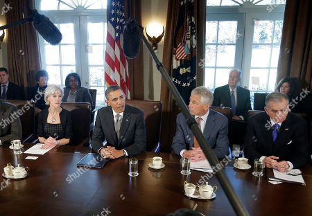 Barack Obama, Karen Mills, Arne Duncan, Kathleen Sebelius, Chuck Hagel, Ray LaHood, Janet Napolitano, Joe Biden, Jack Lew President Barack Obama talks to media at the start of a cabinet meeting at the White House in Washington. With Obama, from left are Health and Human Services Secretary Kathleen Sebelius, Obama, Defense Secretary Chuck Hagel, and Transportation Secretary Ray LaHood., Obama took Sebelius and LaHood to Andrews Air Force Base for round of golf, in the rain. LaHood is running the Transportation Department until the Senate confirms Obama's choice of Charlotte, N.C., Mayor Anthony Foxx as successor