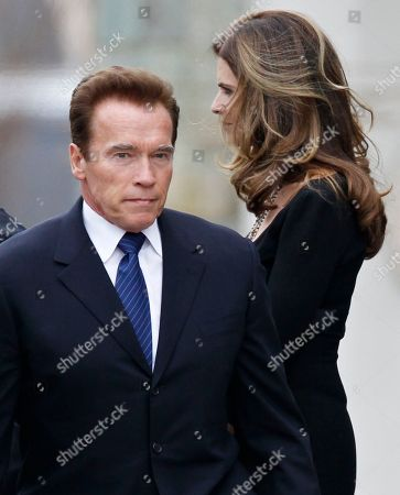 Maria Shriver, Arnold Schwarzenegger Maria Shriver, right, and her husband, actor and former California Governor Arnold Schwarzenegger, stand amid family members and other mourners as they leave the funeral Mass for her father, R. Sargent Shriver, at Our Lady of Mercy Catholic church in Potomac, Md., just outside Washington, . Shriver, the man responsible for launching the Peace Corps after marrying into the Kennedy family, died last Tuesday at age 95 after suffering from Alzheimer's disease for years