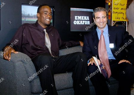 OKAFOR BEDOL Emeka Okafor, left, joins Brian Bedol, president of the year-old network, College Sports Television Network as they wait for a news conference to start in New Orleans . A month after leading Connecticut to an NCAA championship, Okafor has the first endorsement deal of his impending professional basketball career. The College Sports Television Network introduced Okafor as its new celebrity spokesman on Tuesday during a national cable television convention in New Orleans