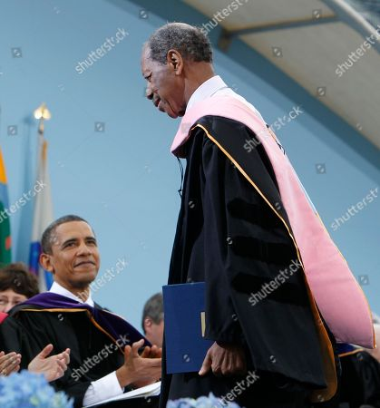 Barack Obama, Ornette Coleman Jazz musician Ornette Coleman, right, walks back to he seat after receiving an honorary Doctor of Music degree as President Barack Obama looks on at the University of Michigan commencement ceremony in Ann Arbor