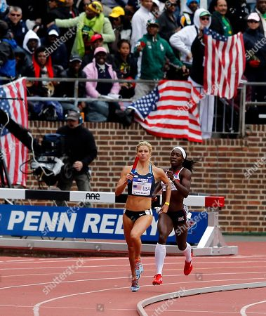 Marilyn Okoro, Maggie Vessey Maggie Vessey, left, of the USA Blue is ahead of Great Britain's Marilyn Okoro in the USA vs. the world women sprint medley at the Penn Relays athletics meet, in Philadelphia. USA Blue team won with a time of 3:42.85