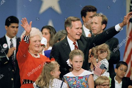 George Bush, Barbara Bush, George P. Bush, Neil Bush President George H.W. Bush and first lady Barbara Bush stand with their family on the podium at the Republican National Convention at the Houston astrodome, . Behind the president at rear right is son Neil Bush. Jeb Bush's son George P. Bush, who gave a short speech praising his grandfather, is a rear far left. Others are unidentified