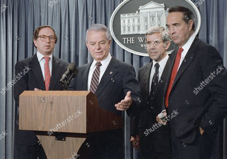 Members of the Congressional leadership meet with reporters in the White House briefing room, after they received a report from President Ronald Reagan on his just finished meetings in Iceland, the past weekend, with Soviet leader Gorbachev. From left are: Sen. Sam Nunn, D-Ga.; Senate Minority Leader Robert Byrd of W.Va.; Senate Foreign Relations Committee Chairman Richard Lugar of Ind. and Senate Majority Leader Robert Dole of Kan