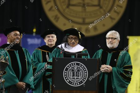 """Sixto Rodriguez Musician Sixto Rodriguez addresses the Wayne State University commencement ceremony after receiving a Doctor of Humane Letters honorary degree, in Detroit, during the university's commencement ceremony. Rodriguez's two albums in the early 1970s received little attention in the United States but he unknowingly developed a cult following in South Africa during the apartheid era. He was the subject of an Oscar-winning documentary, """"Searching for Sugar Man"""