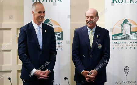Stan Smith, Todd Martin International Tennis Hall of Fame CEO Todd Martin, left, and president Stan Smith stand together before a news conference introducing the 2015 inductees to International Tennis Hall of Fame in Newport, R.I. Martin, the organization's new executive director, said he wants the Hall of Fame to become world-renowned and live up to its international title