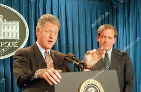 Bill Clinton, Michael McCurry U.S. President Bill Clinton gestures while meeting reporters in the White House briefing room in Washington, where he announced that Michael McCurry, right, would become White House Press Secretary. McCurry, who was working as State Department spokesman, replaces Dee Dee Myers who resigned at the end of last year