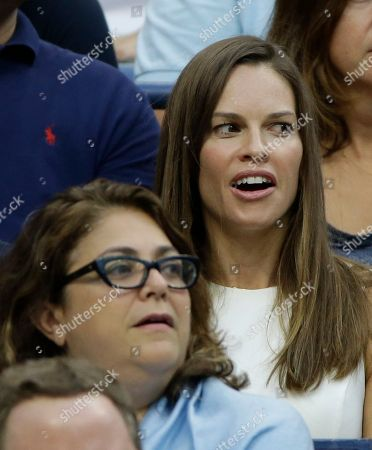 Hillary Swank Actress Hillary Swank watches play between Novak Djokovic, of Serbia, and Marin Cilic, of Croatia, during a semifinal match at the U.S. Open tennis tournament, in New York