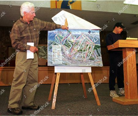 ATENCIO Andy Daly, left, president of Vail Associates, uses a map to show the locations of the seven structures that were damaged or destroyed by fires on top of Vail Mountain during a news conference early, in the Vail Police Department in Vail, Colo. Jeff Atencio, right, fire inspector for the Vail Fire Department, reads off the list. Federal, state and local investigators are trying to determine the cause of the fires, which destroyed the ski patrol headquarters, a ski shelter and alodge. The mountain's Nov. 6 opening date will not be affected, said Daly