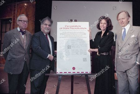 Stock Image of Vartan Gregorian, Morton Janklow, Arthur Schlessenger Jr Literary agent Morton Janklow, left, Vartan Gregorian, second from left, president of the New York Public Library, and library trustee Barbara Goldsmith, watch as author Arthur Schlessenger Jr., signs a landmark declaration for book preservation, at the New York Public Library. Nearly 100 distinguished authors and publishing figures called for the use of acid-free paper for all first printings of quality hard cover trade books