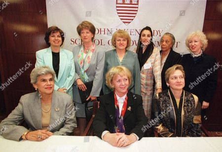 WOMEN WORLD LEADERS Former women leaders pose together for a formal portrait, in Cambridge, Mass., following a news conference at the First Annual Summit of the Council of Women World Leaders at Harvard University's John F. Kennedy School of Government. Seated, from left, are Violeta B. de Chamorro, former president of Nicaragua; Vigdis Finnbogadottir, former president of Iceland; Laura Liswood, she is the Executive director of the council of Women World Leaders. Standing from left, Tansu Ciller, former prime minister of Turkey; Hanna Suchocka, former prime minister of Poland; Kazimiera Prunskiene, former prime minister of Lithuania; Benazir Bhutto, former prime minister of Pakistan; Dame Eugenia Charles, former prime minister of Dominica and Kim Campbell, former prime minister of Canada