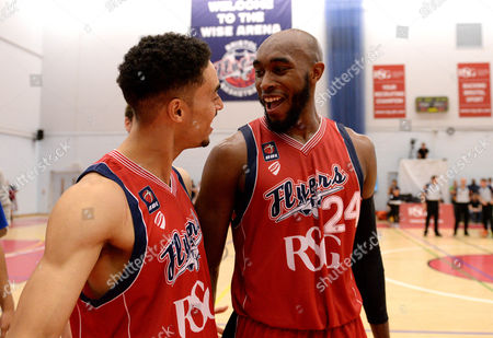 Brandon Boggs of Bristol Flyers and Roy Owen of Bristol Flyers celebrate Bristol Flyers win over Plymouth Raiders at the full time