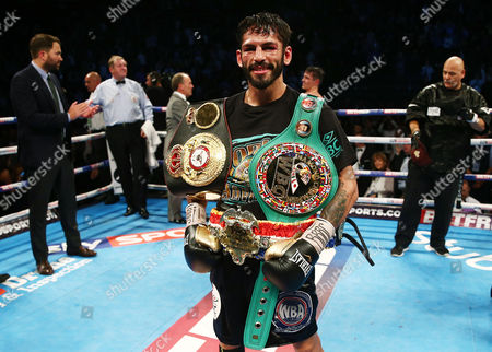 Jorge Linares after winning the WBA, WBC Diamond and Ring Magazine Lightweight World Titles fight at the Two Worlds Collide fight night at the MEN Arena, Manchester on 24th September 2016