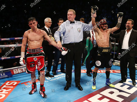 Jorge Linares celebrates after the WBA, WBC Diamond and Ring Magazine Lightweight World Titles fight with Anthony Crolla at the Two Worlds Collide fight night at the MEN Arena, Manchester on 24th September 2016