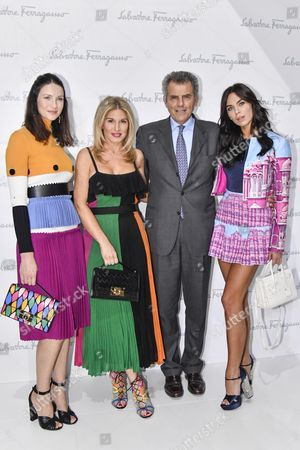 Caitriona Balfe, Hofit Golan, Ferruccio Ferragamo and guest in the Front Row