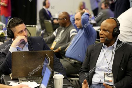 Warren Moon NFL Hall of Famer Warren Moon is seen during an interview on Radio Row at the NFL Media Center during Super Bowl Week on in San Francisco, CA