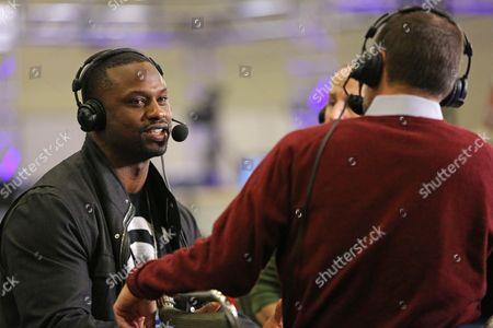 Bart Scott Former NFL Player Bart Scott is seen during an interview on Radio Row at the NFL Media Center during Super Bowl Week on in San Francisco, CA