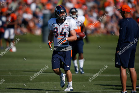 Henry Krieger Coble Denver Broncos tight end Henry Krieger Coble (84) takes part in drills during the team's NFL football training camp in Englewood, Colo