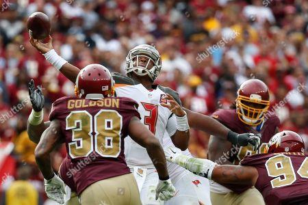 Jameis Winston, Dashon Goldson Tampa Bay Buccaneers quarterback Jameis Winston (3) passes over Washington Redskins free safety Dashon Goldson (38) during the second half of an NFL football game in Landover, Md