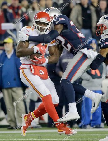 Jason Avant, Devin McCourty New England Patriots safety Devin McCourty (32) tackles Kansas City Chiefs wide receiver Jason Avant (81) in the first half of an NFL divisional playoff football game, in Foxborough, Mass