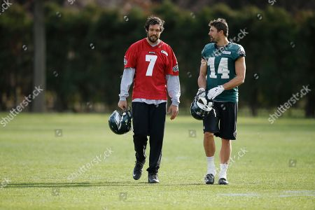 Sam Bradford, Riley Cooper Philadelphia Eagles quarterback Sam Bradford (7) and wide receiver Riley Cooper (14) walk off the field at the NFL football team's practice facility, in Philadelphia