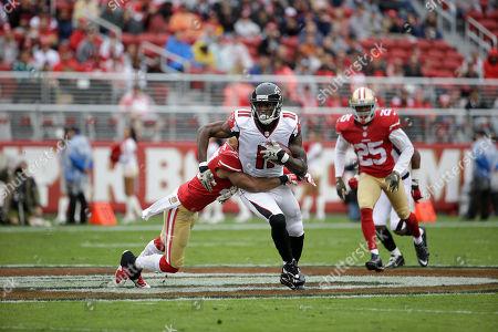 Julio Jones, Marcus Cromartie Atlanta Falcons wide receiver Julio Jones (11) runs against San Francisco 49ers defensive back Marcus Cromartie during the first half of an NFL football game in Santa Clara, Calif