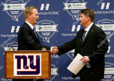 Ben McAdoo, John Mara New York Giants owner John Mara, left, shakes hands with former New York Giants offensive coordinator Ben McAdoo during a news conference announcing McAdoo as the new head coach of the NFL team, in East Rutherford, N.J