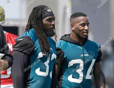Jacksonville Jaguars running back Chris Ivory, left, and running back Jonas Gray (34) take a break during an NFL football practice, in Jacksonville, Fla
