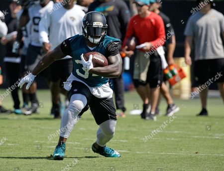 Stock Picture of Jacksonville Jaguars running back Jonas Gray runs with the ball during an NFL football practice, in Jacksonville, Fla