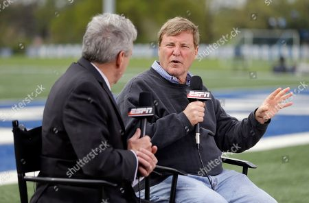 Stock Image of Leigh Steinberg Sports agent Leigh Steinberg, right, is interviewed before the Memphis NFL football pro day, in Memphis, Tenn
