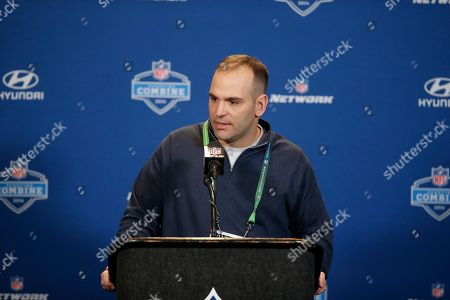 Jacksonville Jaguars general manager David Caldwell responds to a question during a news conference at the NFL football scouting combine, in Indianapolis