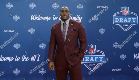 Takeo Spikes Former Walter Payton Men of the Year Takeo Spikes poses for photos upon arriving for the third round of the 2016 NFL football draft at Auditorium Theatre of Roosevelt University, in Chicago