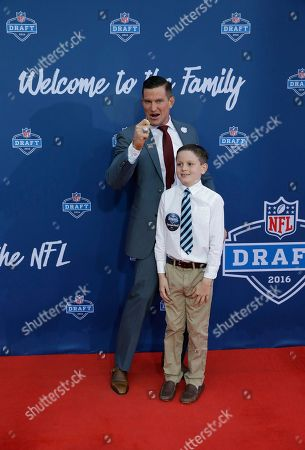 Steve Weatherford Former Walter Payton Men of the Year Steve Weatherford poses for photos upon arriving for the third round of the 2016 NFL football draft at Auditorium Theatre of Roosevelt University, in Chicago