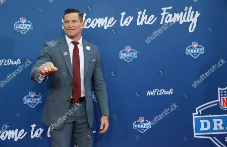 Stock Image of Steve Weatherford Former Walter Payton Men of the Year Steve Weatherford poses for photos upon arriving for the third round of the 2016 NFL football draft at Auditorium Theatre of Roosevelt University, in Chicago