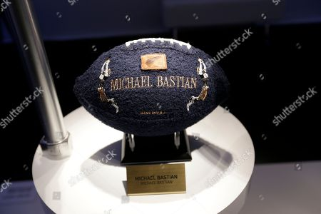 A designer football from Michael Bastian is on display during the NFL/CFDA event at National Football League Headquarters in New York