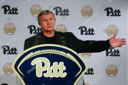 Mike Ditka Former NFL coach and University of Pittsburgh alumnus, Mike Ditka speaks at a news conference for the retirement of the number 75 jersey for former Pittsburgh offensive lineman Jim Covert before an NCAA football game between the Pittsburgh and the Notre Dame, in Pittsburgh