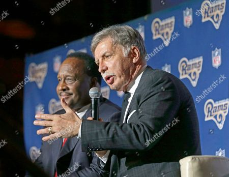 James T. Butts, Stan Kroenke Inglewood Mayor James T. Butts Jr., left, and St. Louis Rams owner Stan Kroenke take questions at a news conference at The Forum in Inglewood, Calif., . The Rams are returning to play in 2016 in the Los Angeles area