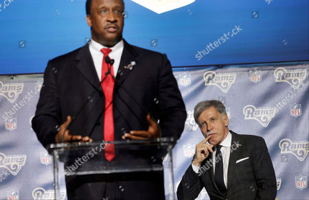 James T. Butts, Stan Kroenke St. Louis Rams owner Stan Kroenke, right, listens to Inglewood Mayor James T. Butts Jr. during a news conference at The Forum in Inglewood, Calif., on . The Rams are returning to play in 2016 in the Los Angeles area