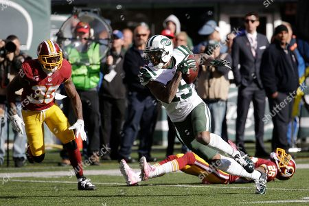 Brandon Marshall, Bashaud Breeland, Dashon Goldson New York Jets wide receiver Brandon Marshall (15) breaks away from Washington Redskins cornerback Bashaud Breeland (26) and free safety Dashon Goldson (38) on his way to score a touchdown during the second half of an NFL football game, in East Rutherford, N.J