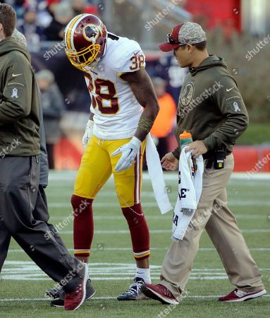 Dashon Goldson Washington Redskins safety Dashon Goldson (38) leaves the field after an injury during the second half of an NFL football game against the New England Patriots, in Foxborough, Mass