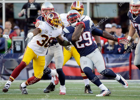 Dashon Goldson, LeGarrette Blount Washington Redskins safety Dashon Goldson (38) pursues New England Patriots running back LeGarrette Blount (29) during the second half of an NFL football game, in Foxborough, Mass