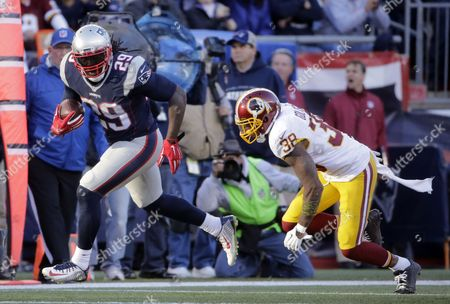 LeGarrette Blount, Dashon Goldson Washington Redskins safety Dashon Goldson (38) chases New England Patriots running back LeGarrette Blount (29) during the second half of an NFL football game, in Foxborough, Mass