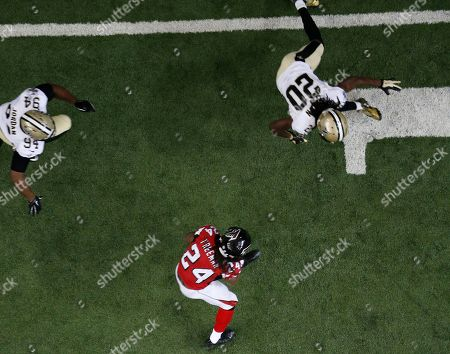 New Orleans Saints defensive back Kyle Wilson (24) runs against the New Orleans Saints during the second half of an NFL football game, in Atlanta