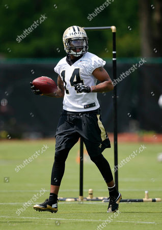 Stock Image of Reggie Bell New Orleans Saints wide receiver R.J. Harris (14) runs through drills during an NFL football practice in Metairie, La