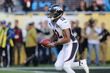 Andre Caldwell Denver Broncos' Andre Caldwell #12 returns the opening kickoff against the Carolina Panthers during the NFL Super Bowl 50 football game, in Santa Clara, Calif