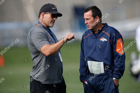 Mark Schlereth, Gary Kubiak Denver Broncos head coach Gary Kubiak, right, chats with retired Broncos lineman Mark Schlereth during drills at the NFL football training camp, in Englewood, Colo