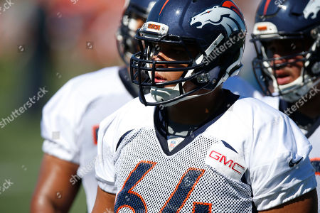 Shelley Smith Denver Broncos guard Shelley Smith (64) at the team's NFL football training camp, in Englewood, Colo