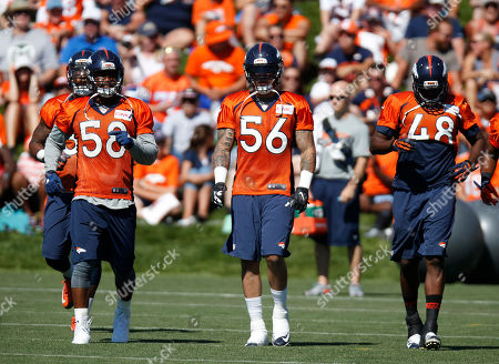 Von Miller, Shane Ray, Shaquil Barrett From left, Denver Broncos linebackers Von Miller, Shane Ray and Shaquil Barrett run at the team's NFL football training camp, in Englewood, Colo