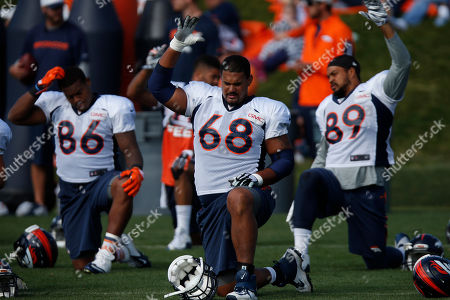 Ryan Harris Denver Broncos tackle Ryan Harris (68) during drills at the team's NFL football training camp session, in Englewood, Colo