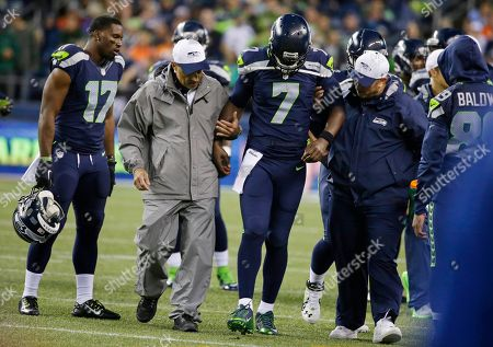 Tarvaris Jackson Seattle Seahawks quarterback Tarvaris Jackson (7) is helped off the field after going down with an injury during the second half of a preseason NFL football game against the Denver Broncos, in Seattle